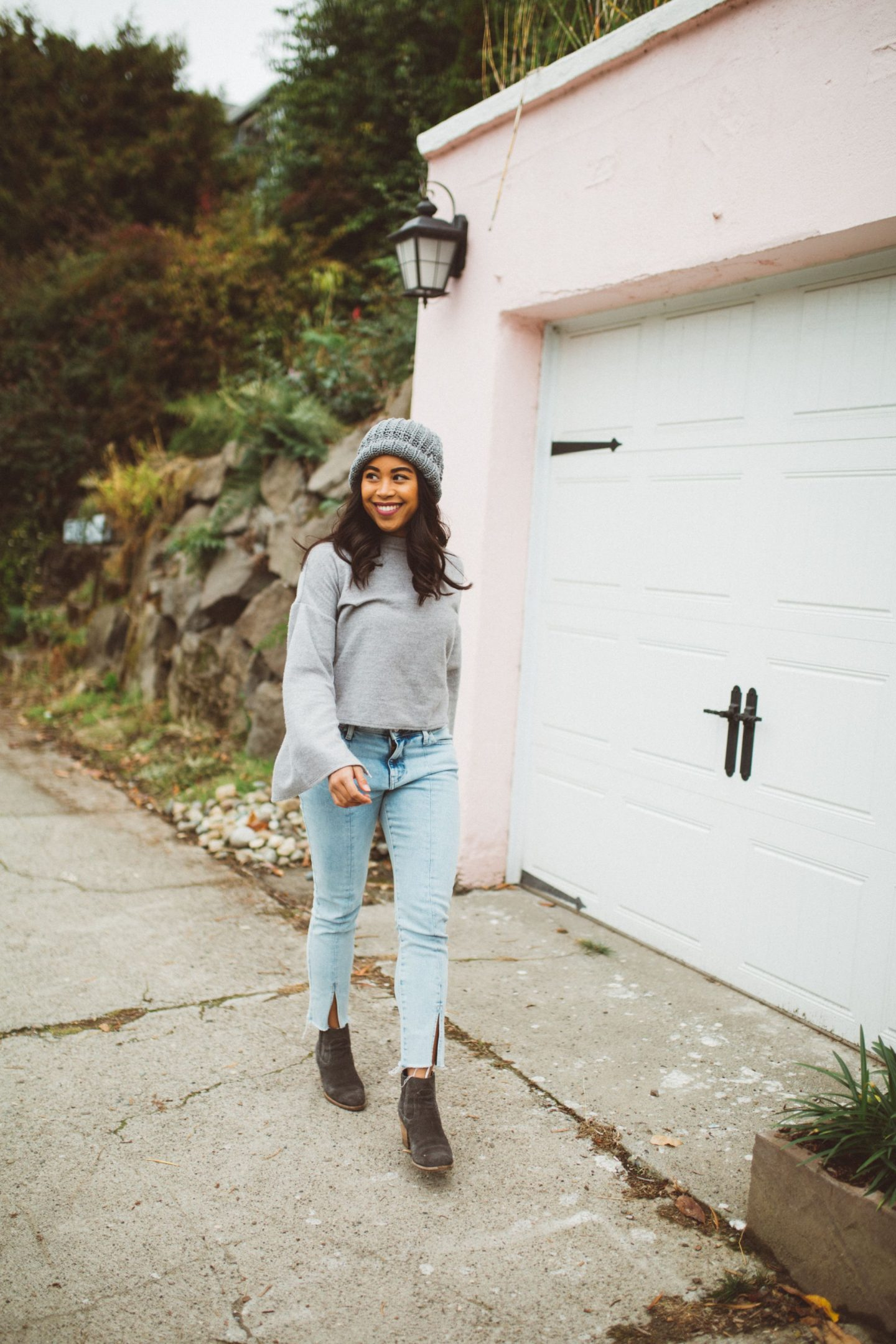 Grey Beanie, Grey Sweater, Forever 21 Jeans, Dolce Vita Booties