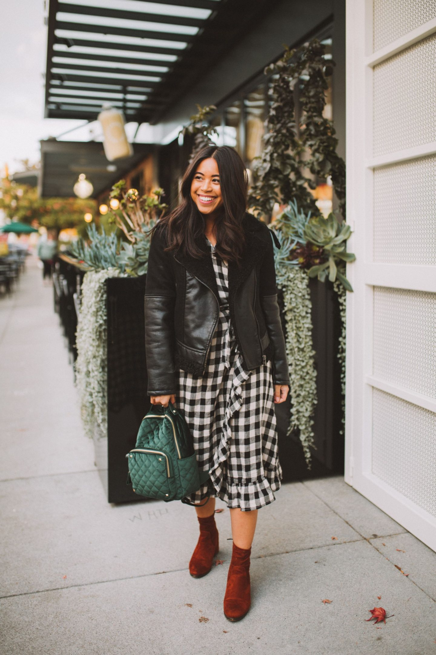 Blank NYC Black Jacket - Anthropologie Gingham Dress - Orange Velvet Boots - Emerald Green Backpack - MMS Brands
