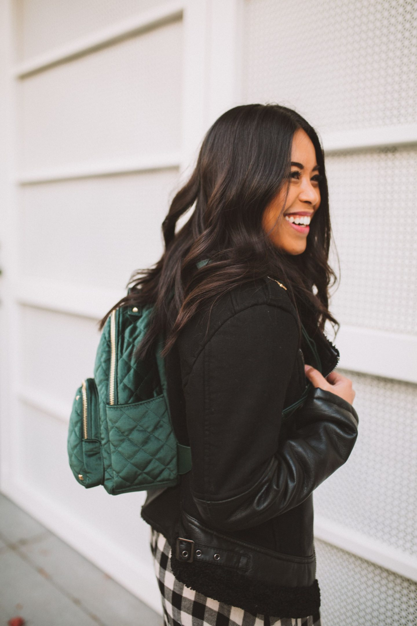 Blank NYC Black Jacket - Nordstrom Rack - MMS Brands - Green Velvet Backpack - Thankful - Thanksgiving - winter fashion