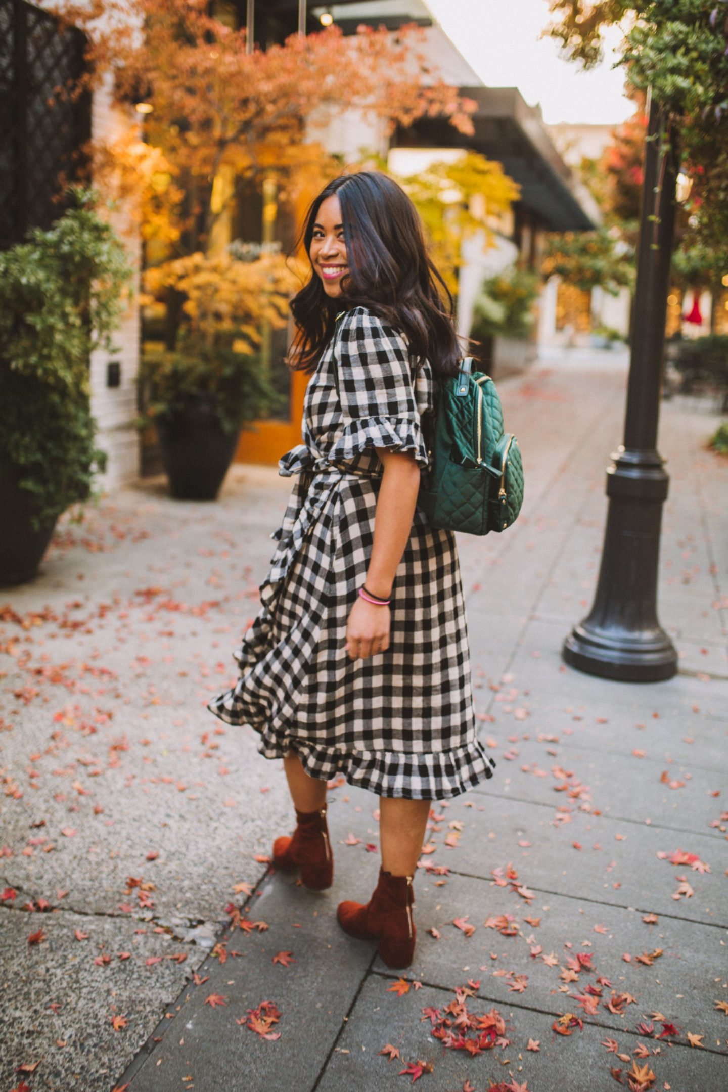 Blank NYC Black Jacket - Anthropologie Gingham Dress - Orange Velvet Boots - Emerald Green Backpack - MMS Brands - Walking through Seattle