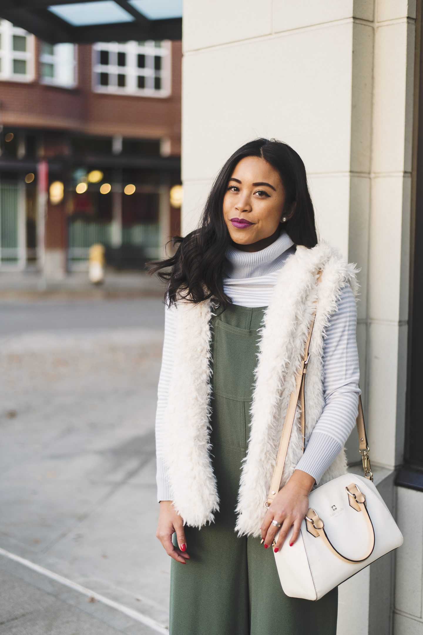Spring Into Winter - Target Style - Green Jumper - Fuzzy White Vest - Value Village - Thrifted Turtleneck Sweater