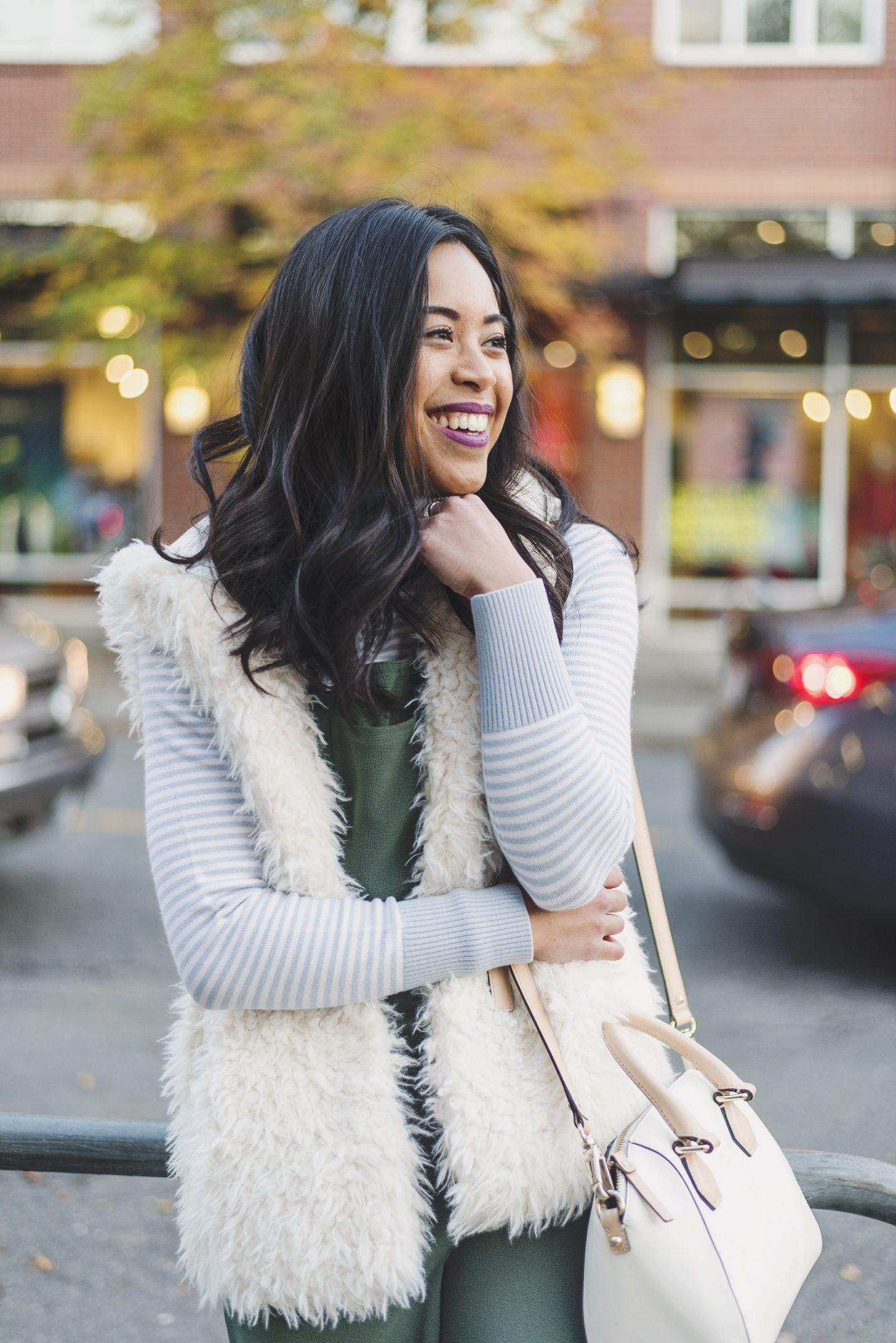 Spring into Winter Challenge - Fuzzy White Vest - Turtleneck Sweater - Thrifted Style