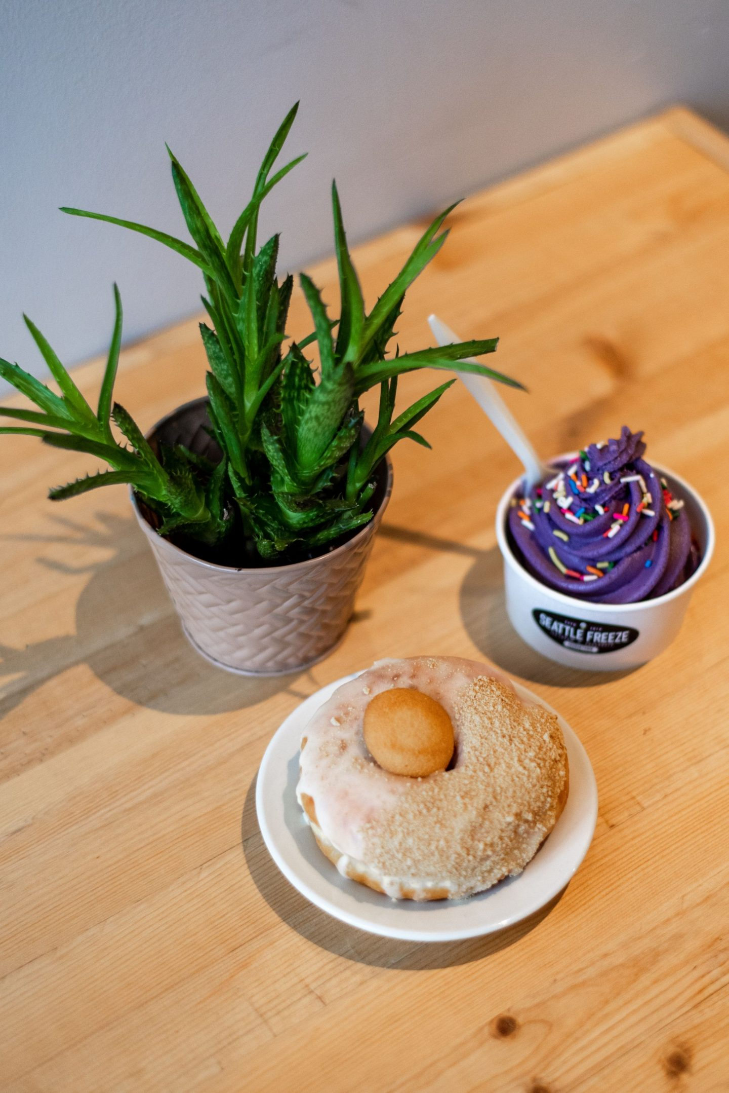 Seattle Freeze - Ube Ice Cream and doughnut
