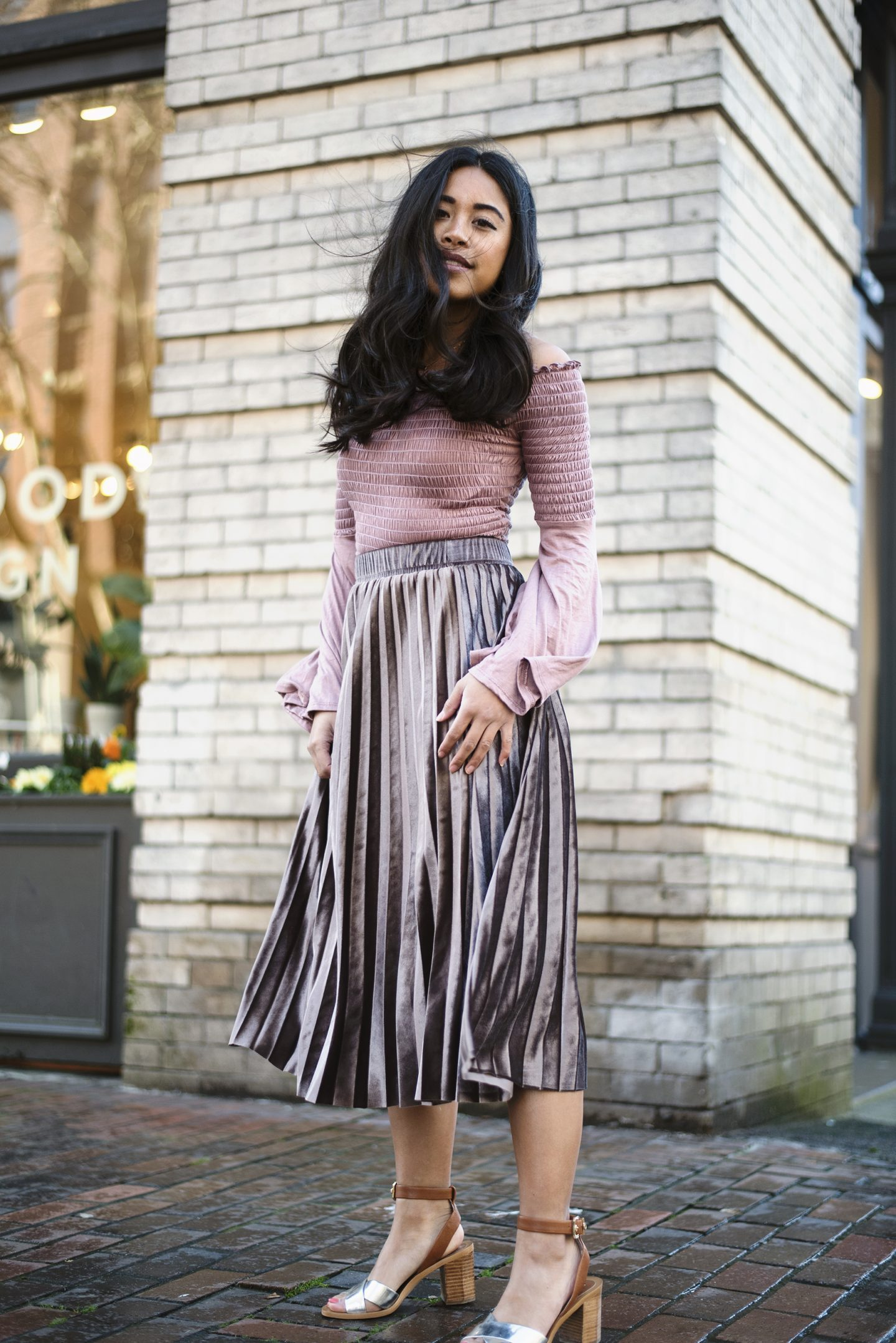 aedba5751b Are you looking for what to wear for a Valentine s Day dinner  Try a velvet  pleated skirt and a pink top! My velvet pleated skirt is one of my favorite  ...