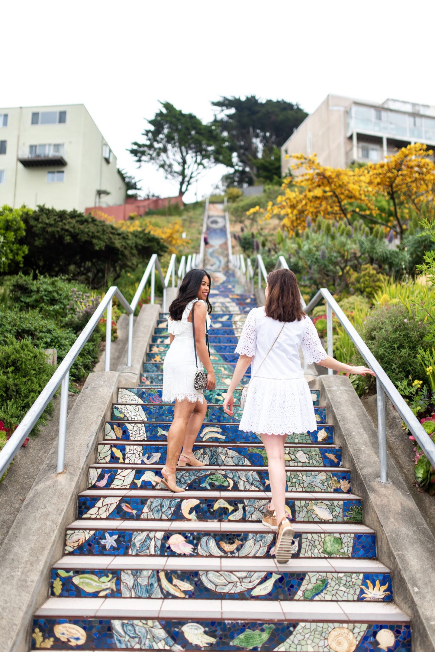 mosaic stairs - walk up the stairs - friend posing ideas - how to pose with friends