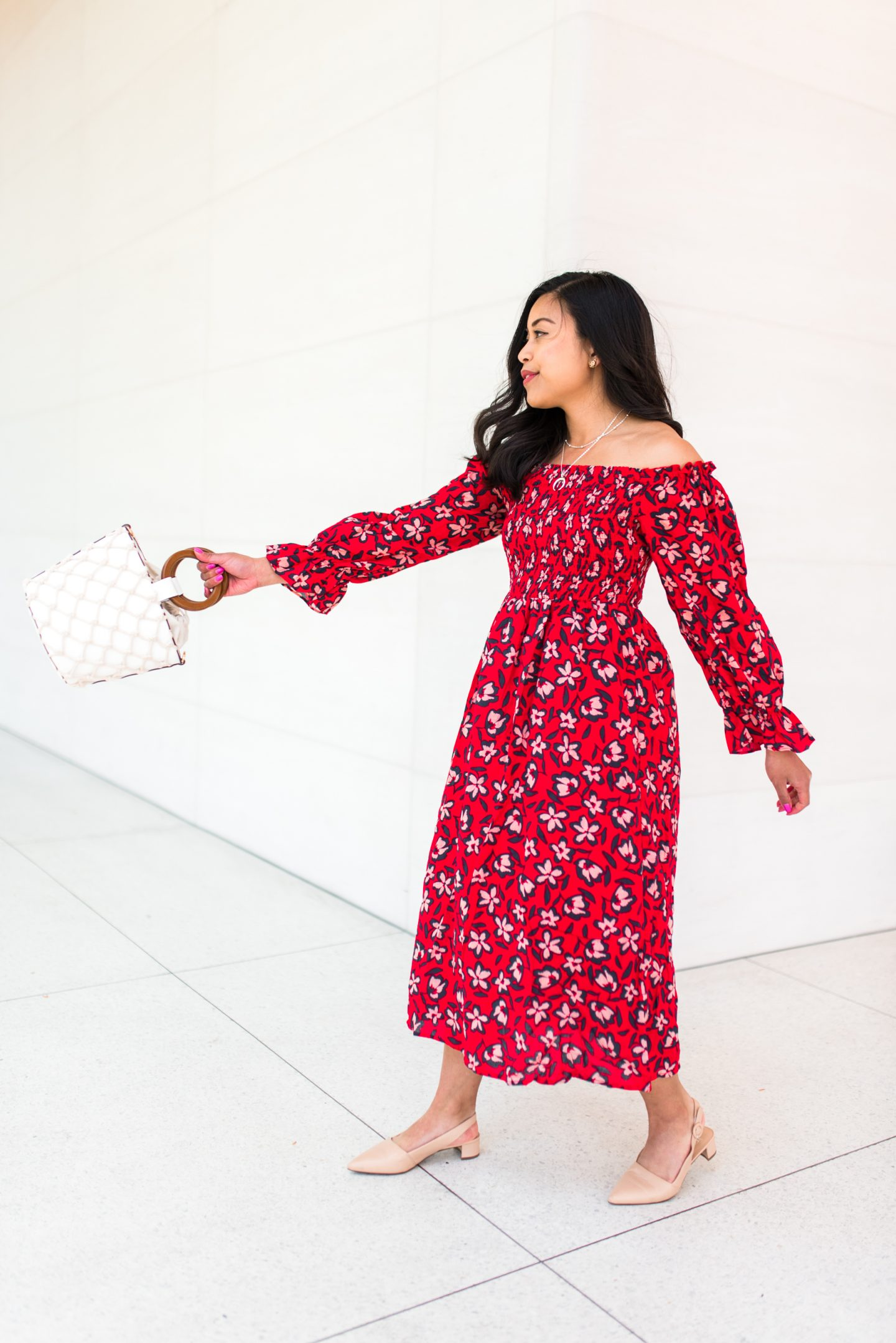 red floral dress - spring outfit ideas