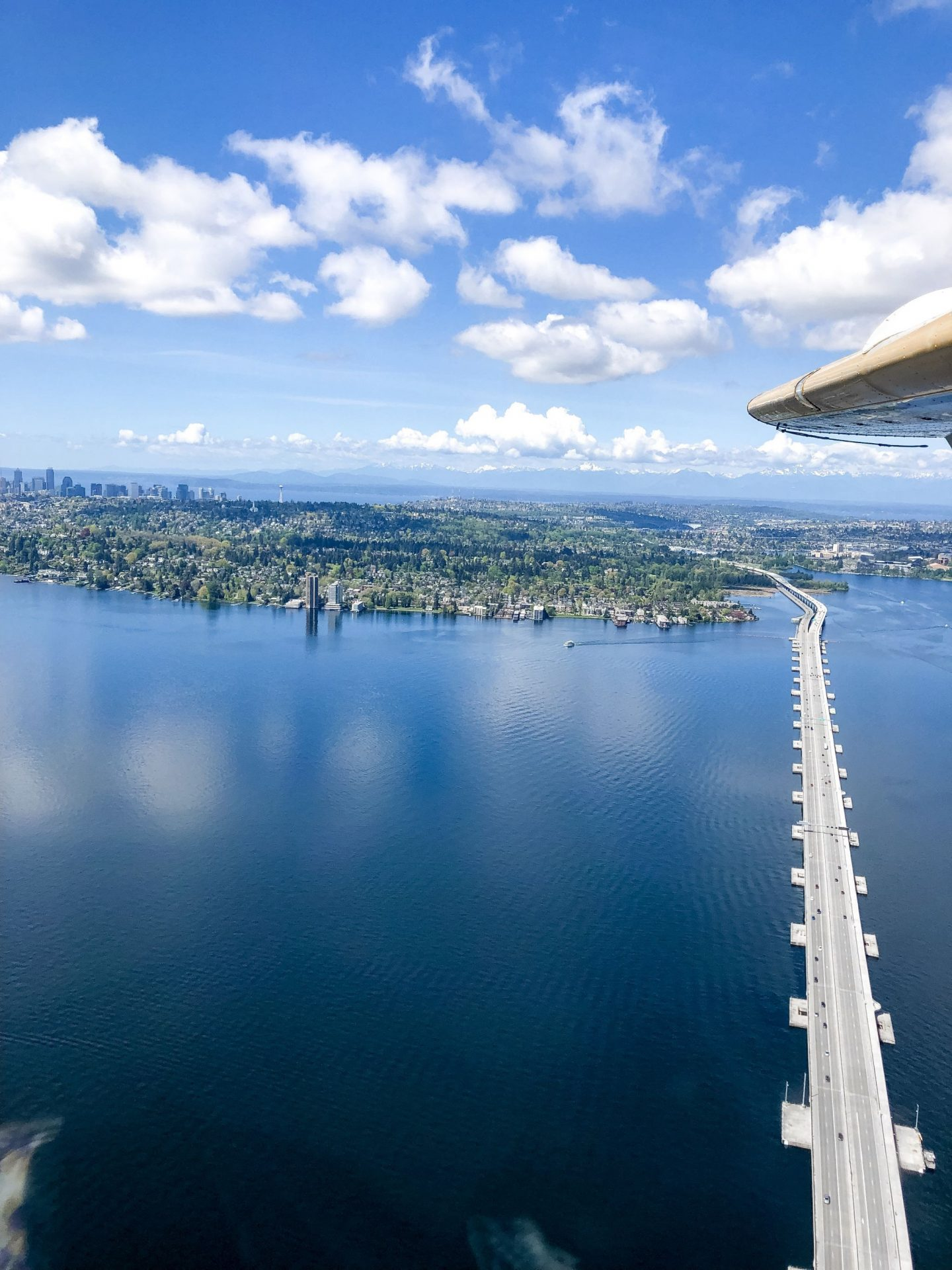 view of lake washington from kenmore air