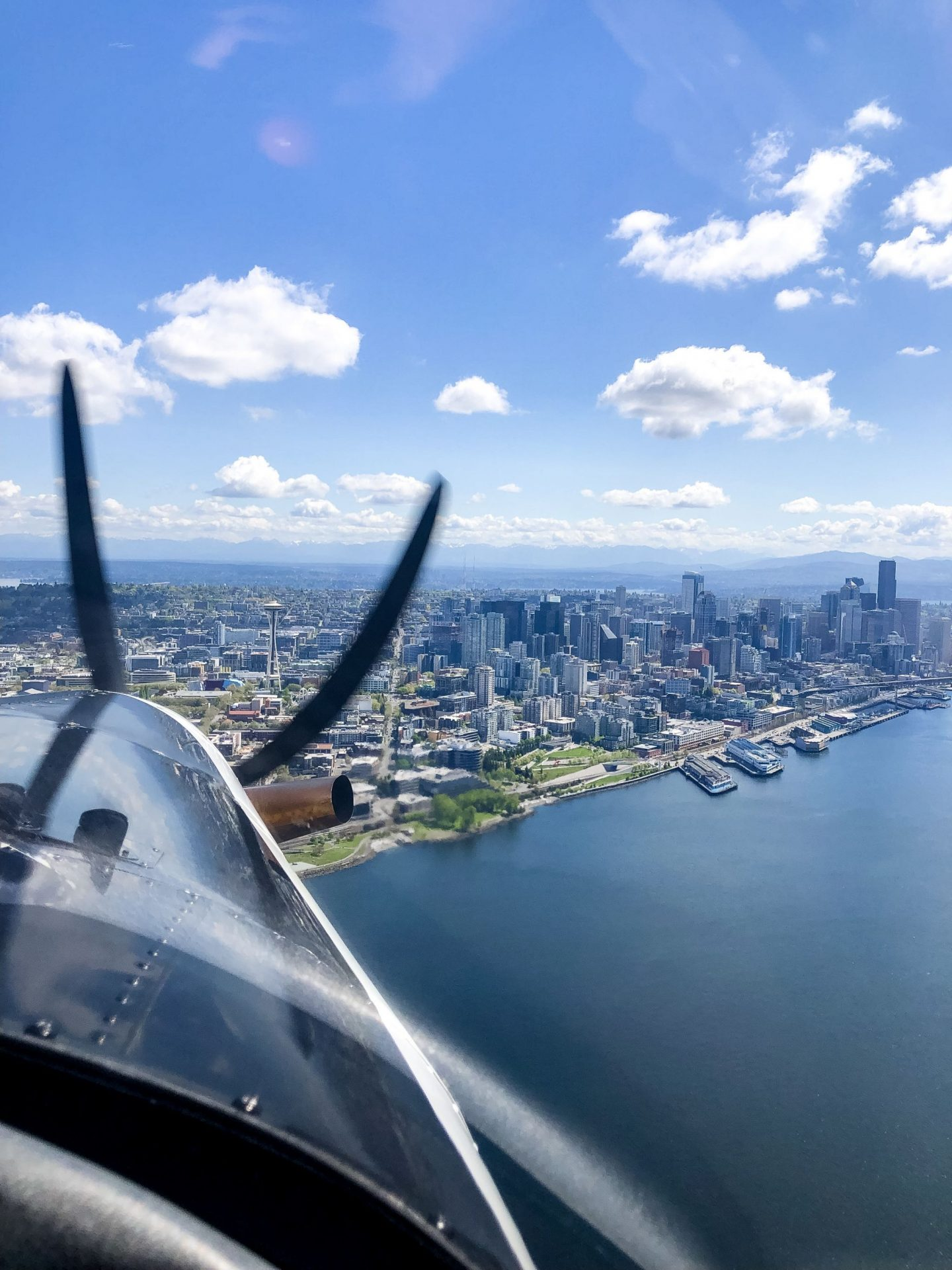 view of Seattle from the seaplane