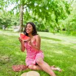 Watermelon - Summer photo shoot - Red Gingham Dress