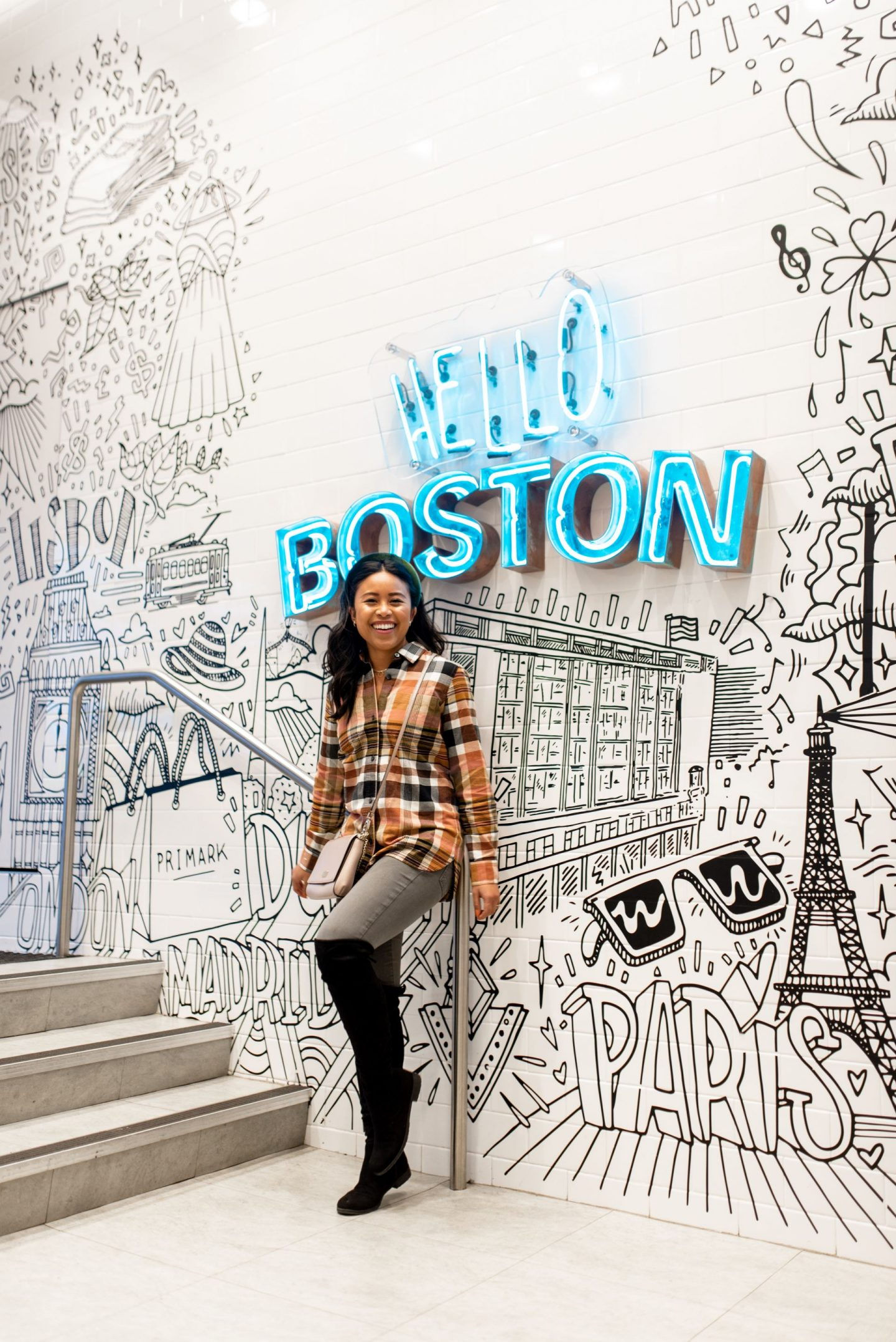 Hello boston mural inside Primark - downtown Boston
