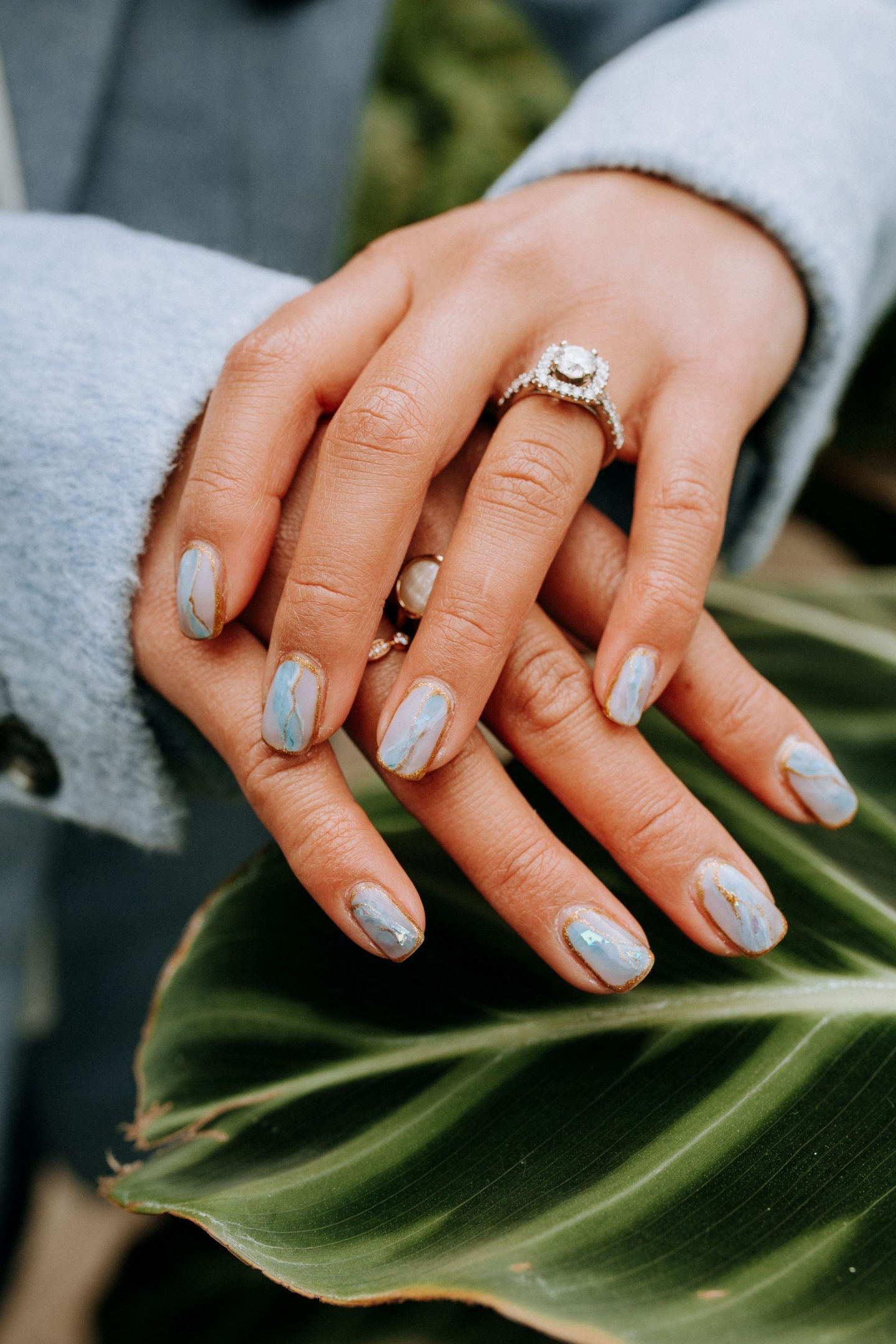 engagement nails - save the dates