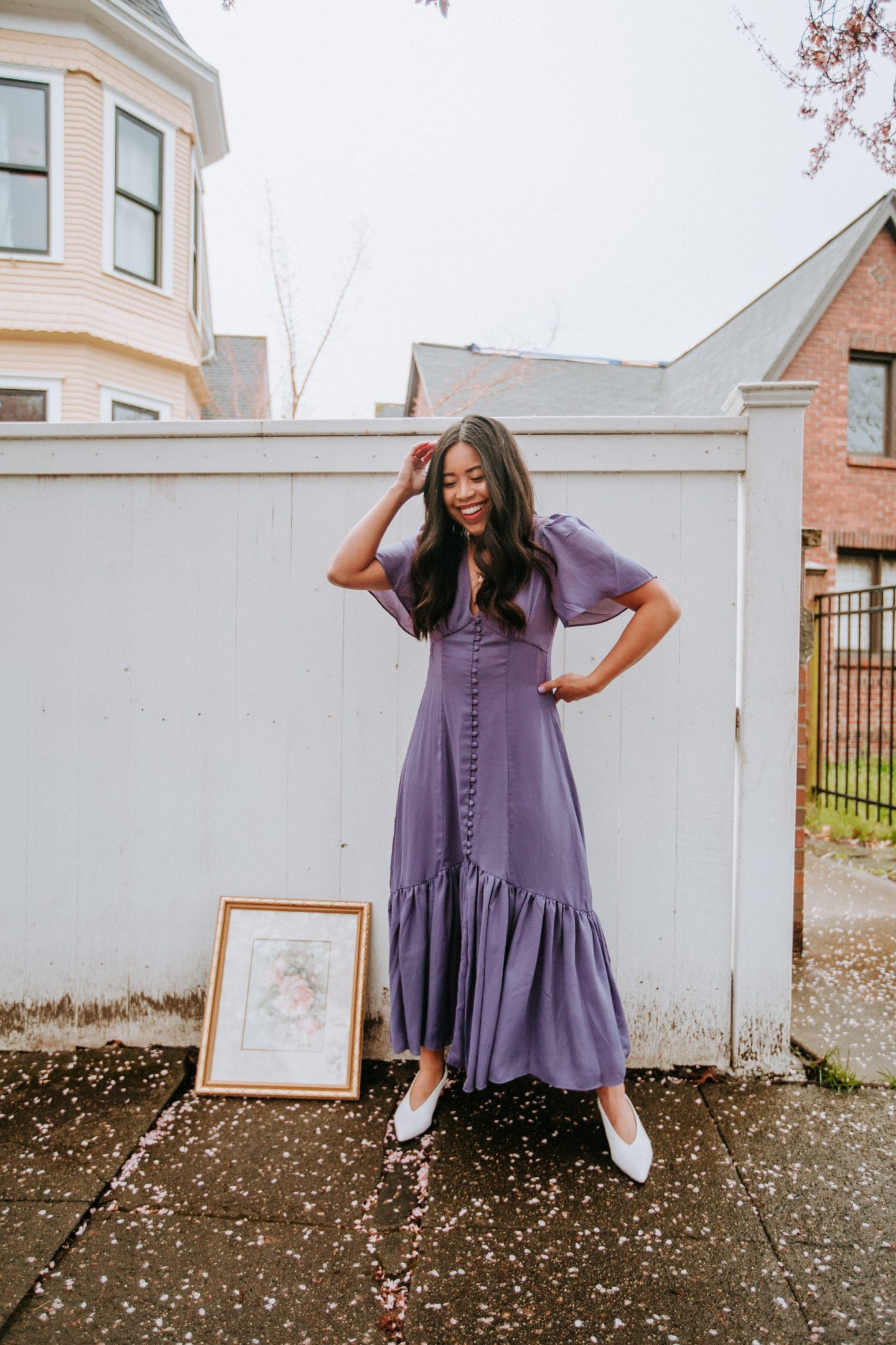Lavender dress - spring outfit ideas for women - spring photo shoot ideas - pose with cherry blossoms - spring dresses 2021 - - content ideas for Instagram - content tips for influencers - spring bucket list ideas - image from www.emmasedition.com - copyright @emmasedition