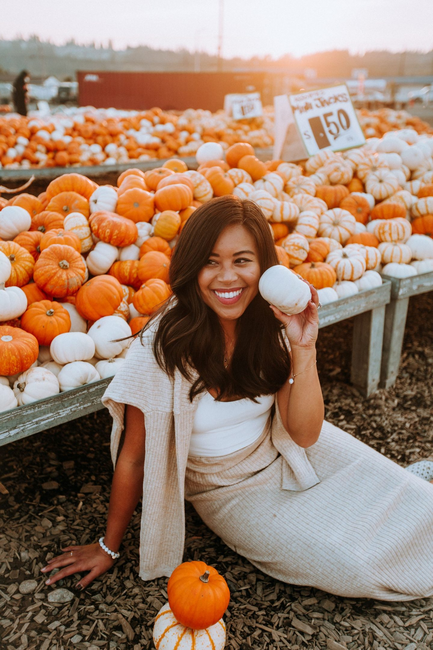 Pumpkin patch outfit idea - matching knit sets