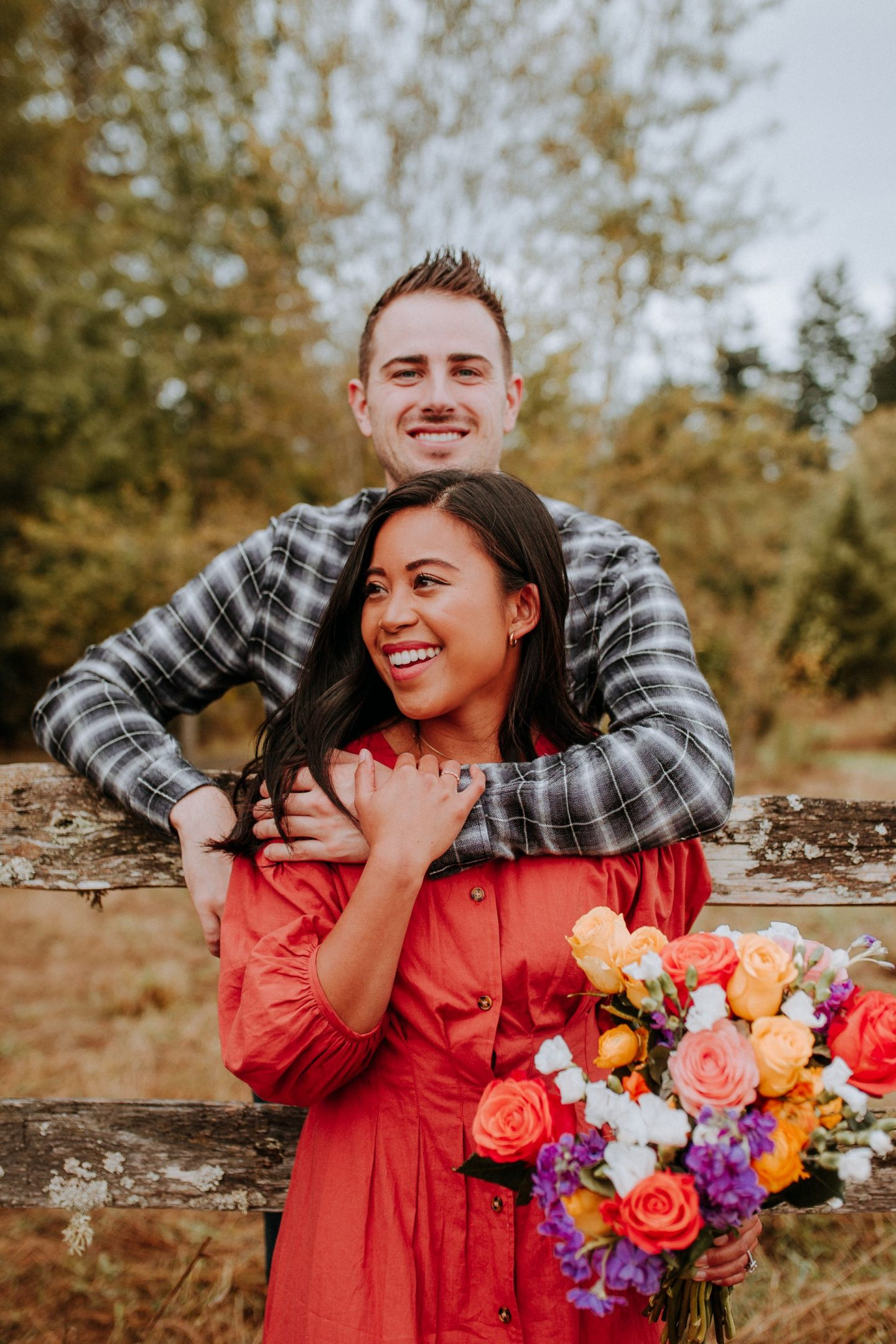 one year engagement with urbanstems - engagement photos - engagement photo ideas - bouquets for engagement photos - how to pose for engagement photos