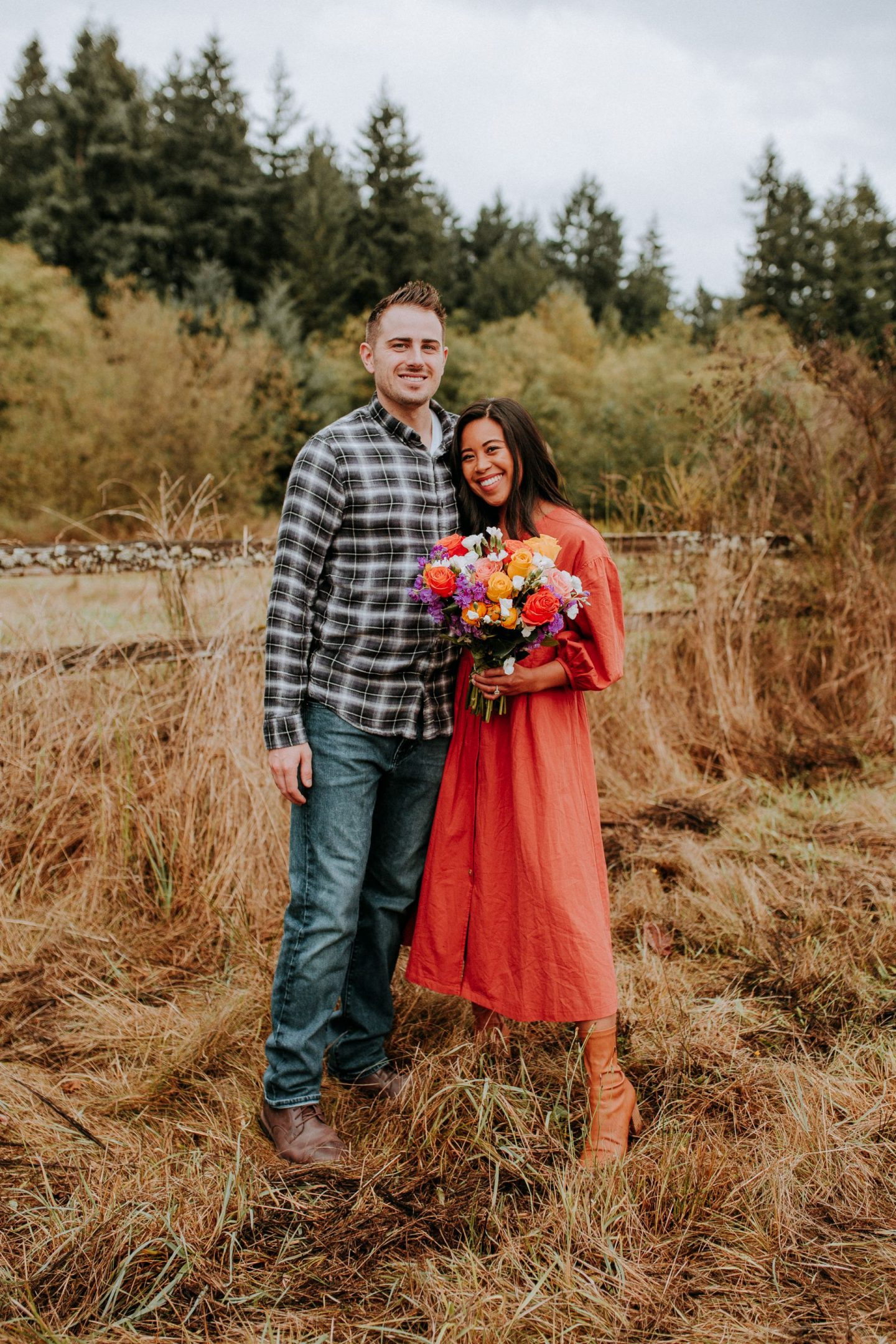 one year engagement with urbanstems - engagement photos - engagement photo ideas - bouquets for engagement photos