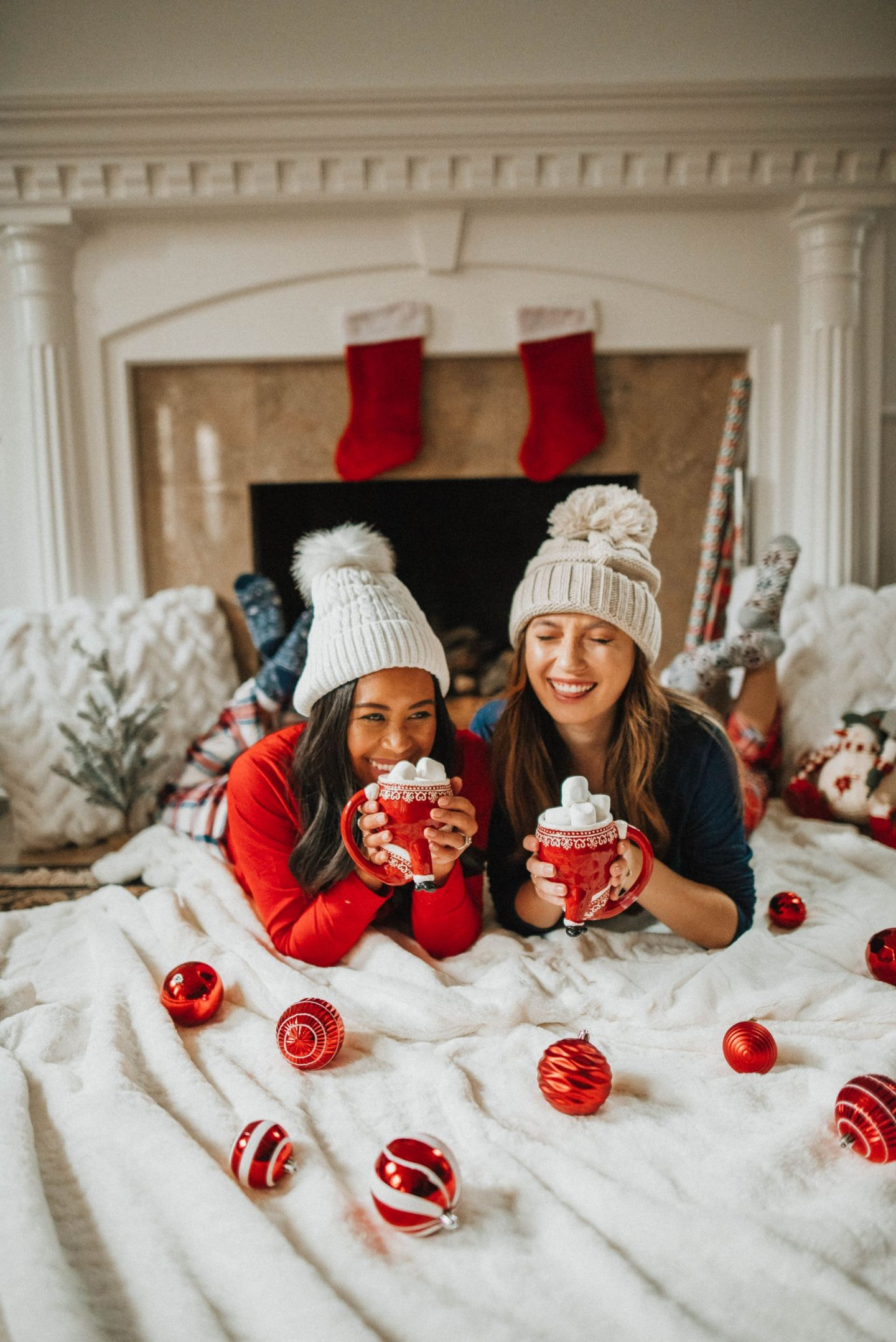 Christmas pajamas - hot cocoa by the fireplace - image from www.emmasedition.com - Instagram @emmasedition