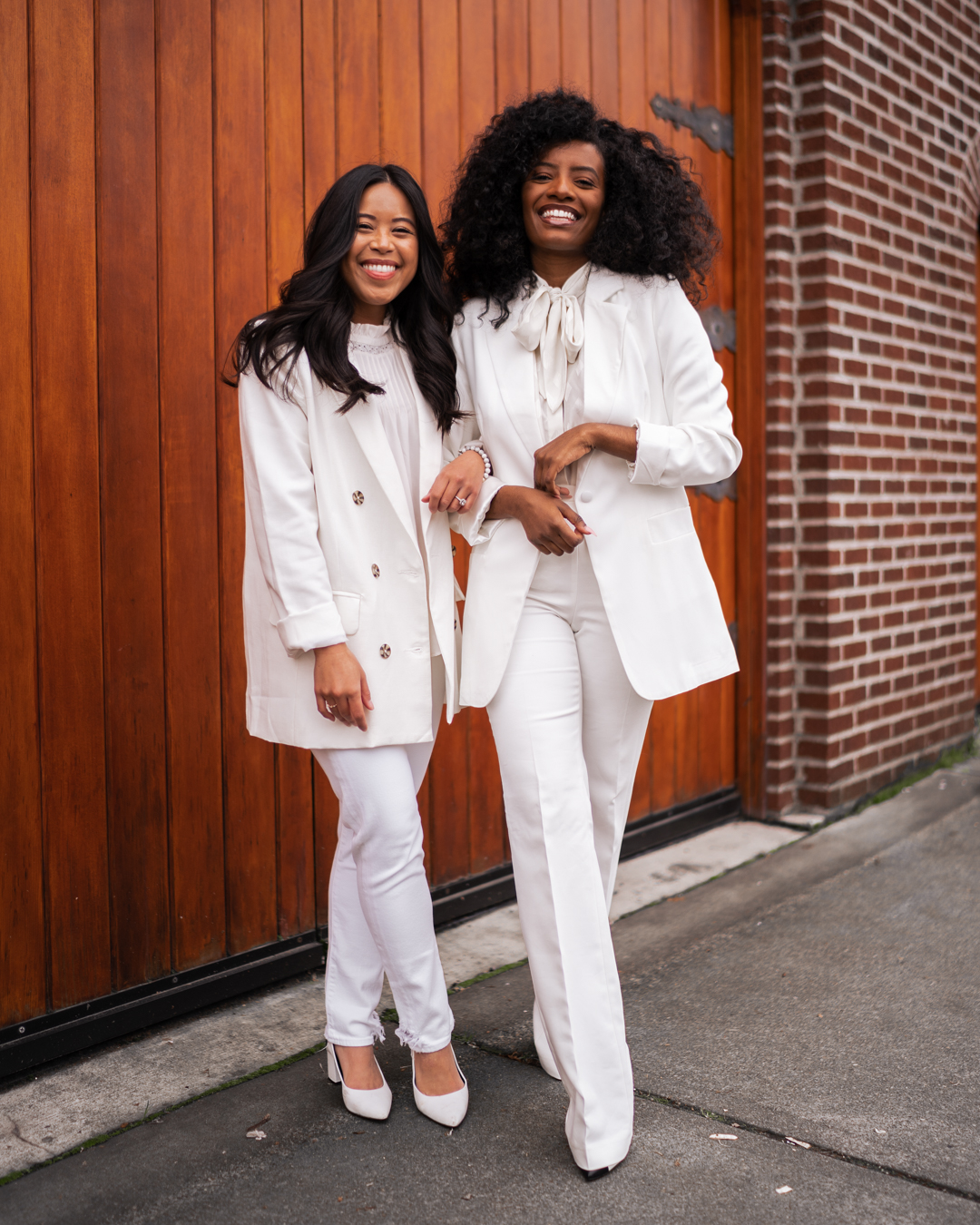 best friend photo shoot ideas - white suit photo shoot - women of color - content creators of color - Inauguration Day 2021 - Kamala Harris inspired outfit - Women in White Suits - image from www.emmasedition.com - copyright @emmasedition