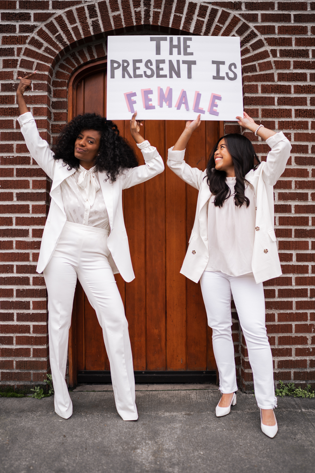 The Present is Female - Inauguration Day 2021 - Kamala Harris inspired outfit - Women in White Suits - image from www.emmasedition.com - copyright @emmasedition