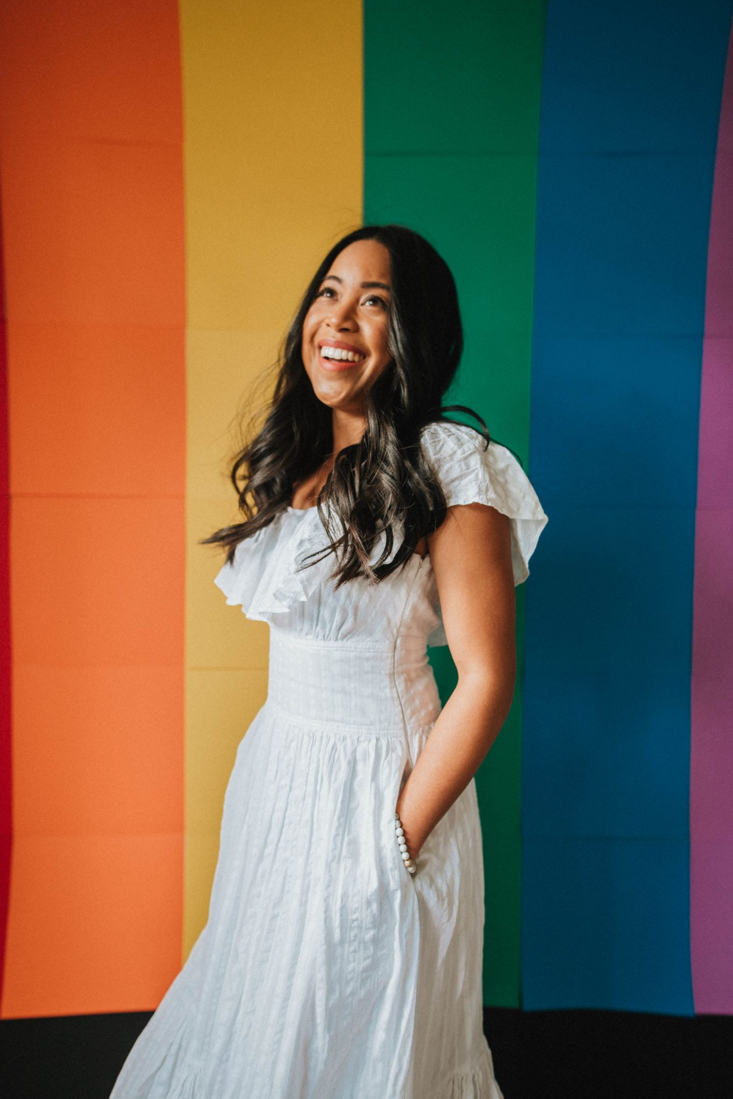 At home DIY rainbow wall - rainbow wall made of construction paper - indoor photo shoot idea with rainbow wall - Instagram story takeover preparation - Instagram story takeover tips - image copyright Emma's Edition -  www.emmasedition.com