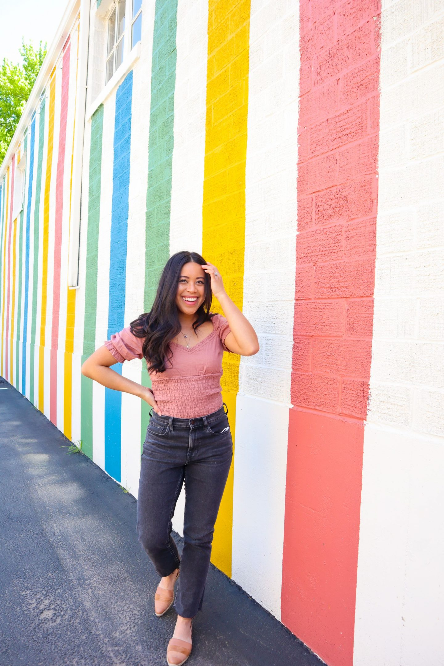 Pavement Austin - Colorful striped mural - image from Emma's Edition