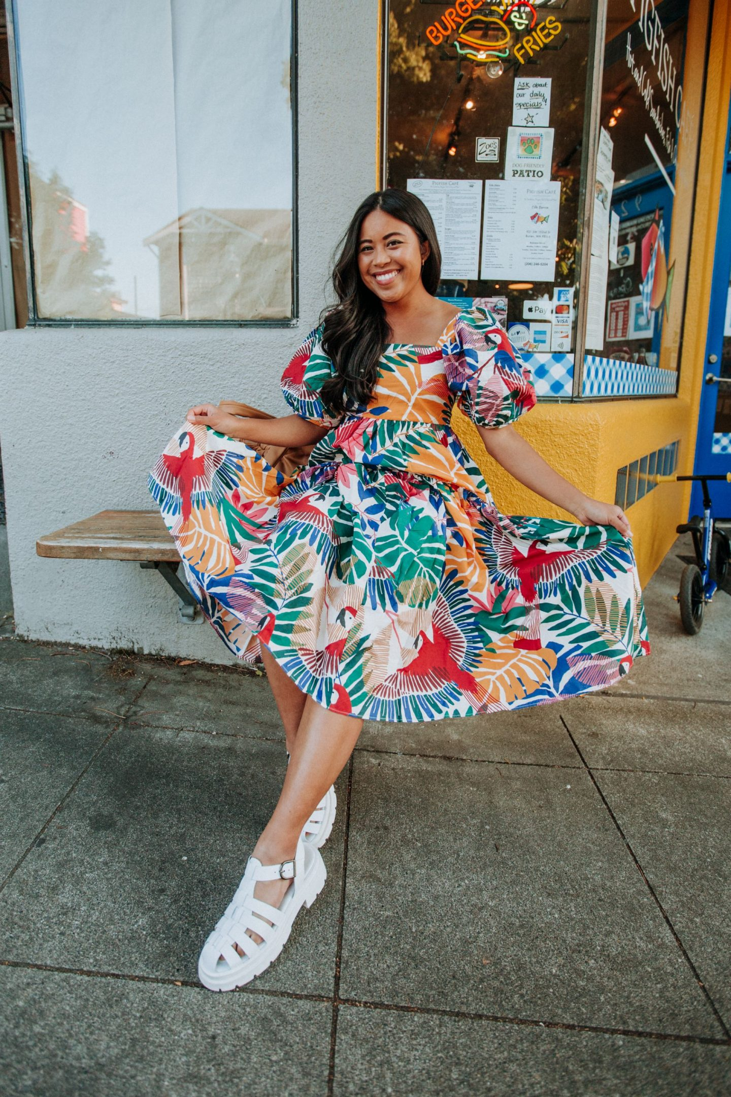 4 Lessons I've Learned in My First Year as a Full-time Content Creator - wearing a Farm Rio summer dress - image from www.emmasedition.com